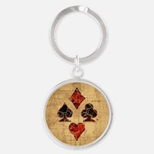 Cracked Playing Card Suits Round Keychain