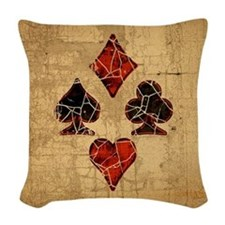 Cracked Playing Card Suits Woven Throw Pillow