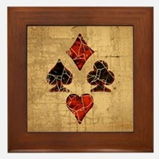 Cracked Playing Card Suits Framed Tile