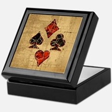 Cracked Playing Card Suits Keepsake Box