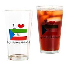 I HEART EQUATORIAL GUINEA FLAG Drinking Glass