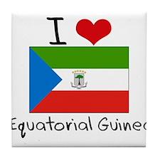 I HEART EQUATORIAL GUINEA FLAG Tile Coaster