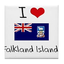 I HEART FALKLAND ISLANDS FLAG Tile Coaster