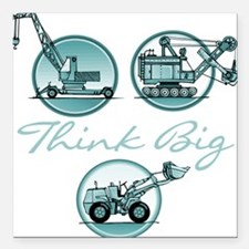 Think Big Construction Vehicles Square Car Magnet