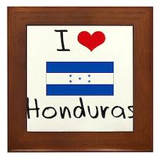 I HEART HONDURAS FLAG Framed Tile