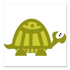 """Green Turtle Square Car Magnet 3"""" x 3"""""""