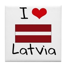I HEART LATVIA FLAG Tile Coaster