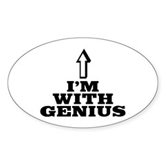 I'm with genius Sticker (Oval 50 pk)