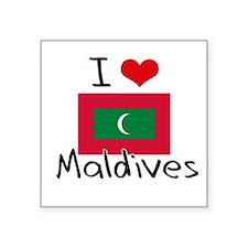I HEART MALDIVES FLAG Sticker