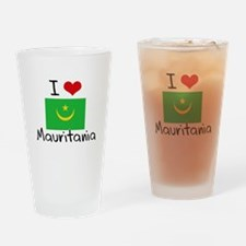 I HEART MAURITANIA FLAG Drinking Glass