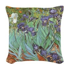 Van Gogh Irises Woven Throw Pillow