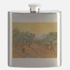 Van Gogh Olive Trees Yellow Sky And Sun Flask