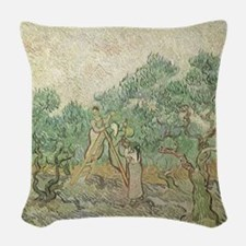 Van Gogh Olive Picking Woven Throw Pillow