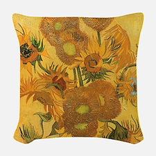 Van Gogh Vase w Sunflowers Woven Throw Pillow