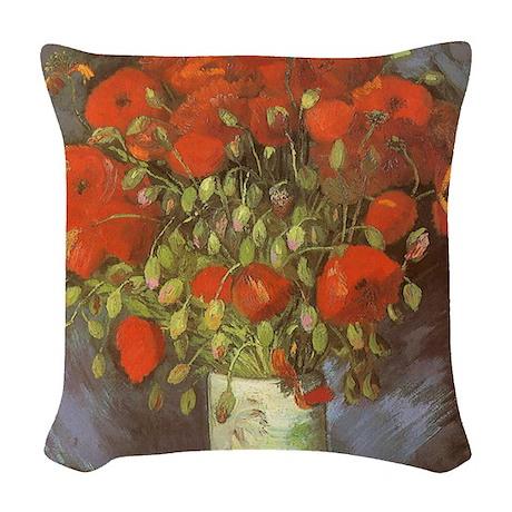 Van Gogh Vase w Red Poppies Woven Throw Pillow