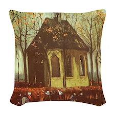 Van Gogh Chapel at Nuenen Woven Throw Pillow