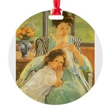 Young Mother Sewing by Cassatt Ornament