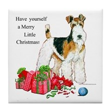 Merry Little Fox Terrier Tile Coaster