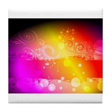 colorful glowing design Tile Coaster
