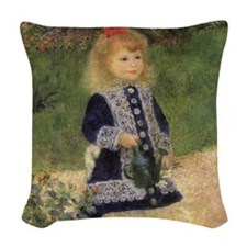 Renoir Girl w Watering Can Woven Throw Pillow
