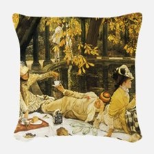 Holyday (The Picnic) by Tissot Woven Throw Pillow