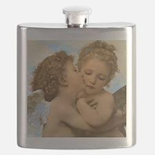 First Kiss by Bouguereau Flask