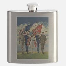 Vintage Patriotic Military Flask