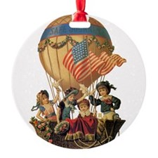 Vintage Patriotic Children Round Ornament