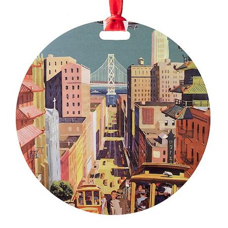 Vintage Travel Poster San Francisco Round Ornament