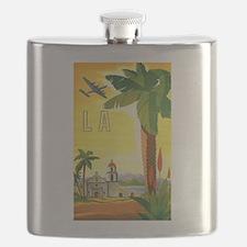 Vintage Travel Poster Los Angeles Flask