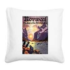 Vintage Travel Poster Norway Square Canvas Pillow