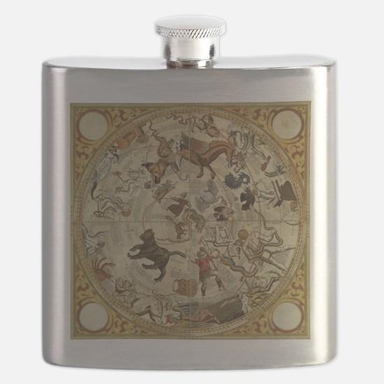 Vintage Celestial Map Flask