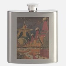 Vintage Science Fiction Futuristic City Flask