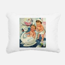 Vintage Swan Bathtub Rectangular Canvas Pillow