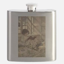 Vintage Books in Winter, Child Reading Flask