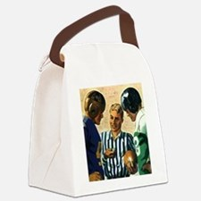 Vintage Sports Football Coin Toss Canvas Lunch Bag