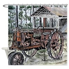 farm tractor folk art print Shower Curtain