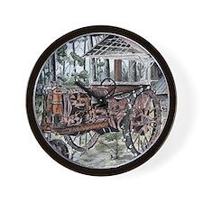farm tractor folk art print Wall Clock