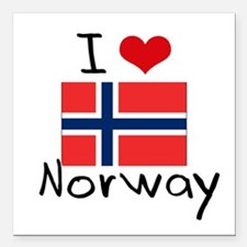 "I HEART NORWAY FLAG Square Car Magnet 3"" x 3"""
