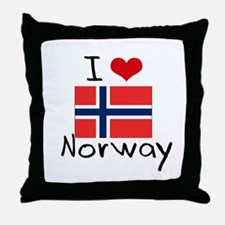 I HEART NORWAY FLAG Throw Pillow