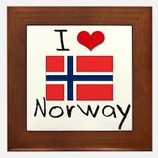 I HEART NORWAY FLAG Framed Tile