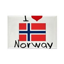 I HEART NORWAY FLAG Rectangle Magnet