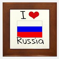 I HEART RUSSIA FLAG Framed Tile
