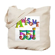 Awesome 55 Birthday Tote Bag
