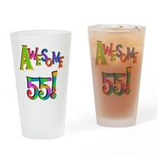 Awesome 55 Birthday Drinking Glass
