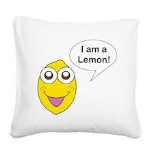 Happy Lemon Square Canvas Pillow