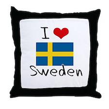 I HEART SWEDEN FLAG Throw Pillow