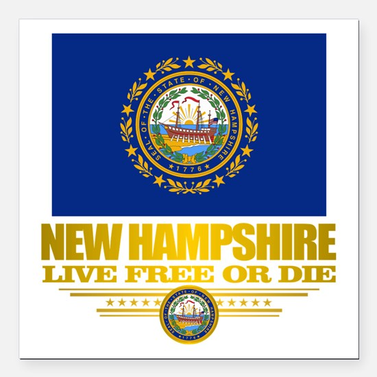 "New Hampshire Pride Square Car Magnet 3"" x 3"""