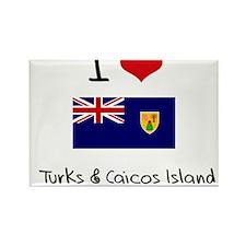 I HEART TURKS & CAICOS ISLAND FLAG Rectangle Magne