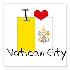 """I HEART VATICAN CITY FLAG Square Car Magnet 3"""" x 3"""